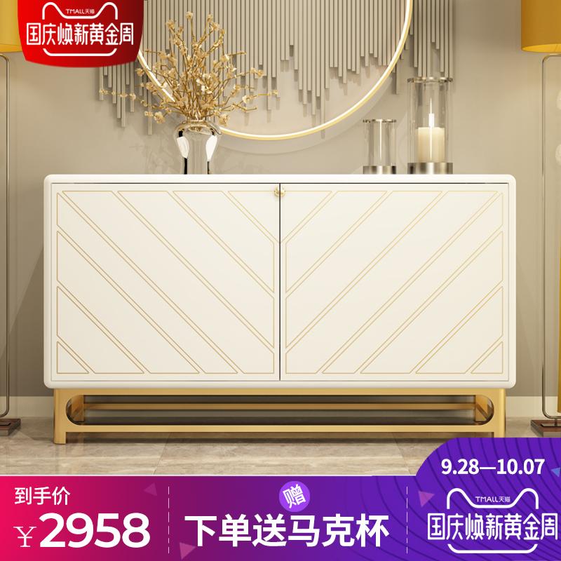 后现代简约餐边柜组合新古典烤漆玄关柜碗柜不锈钢餐厅收纳柜地柜
