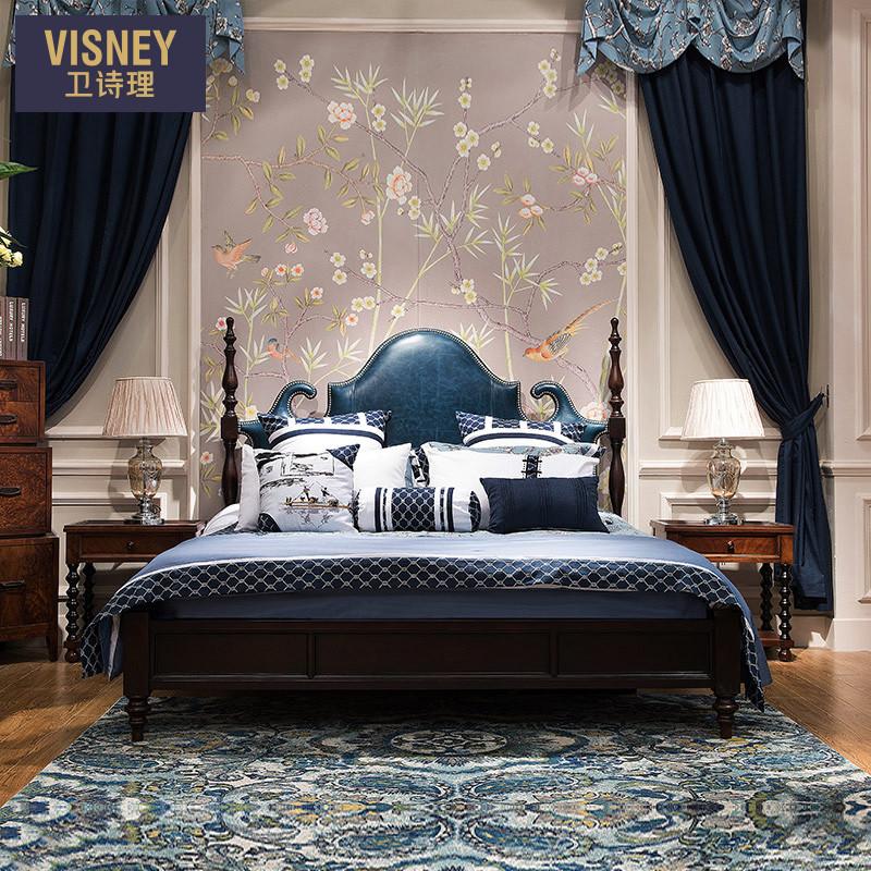 卫诗理美式乡村真皮双人床欧式简美家用主卧婚床1.8米实木大床H3
