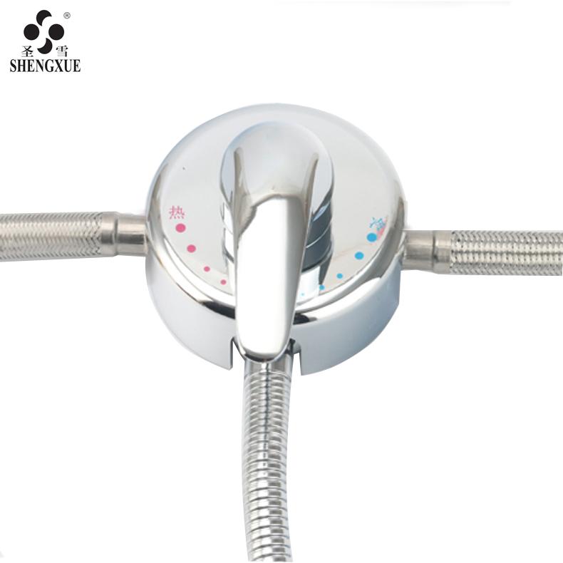 圣雪铜二进一出分水器 电热水器混水阀 明装冷热水阀 淋浴阀