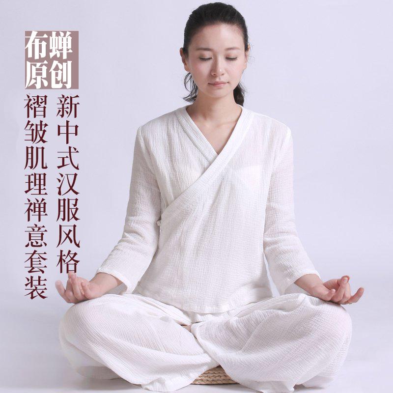 布蝉 夏季白色宽松 禅意合一瑜珈服居士服禅修服女套装汉服茶人服