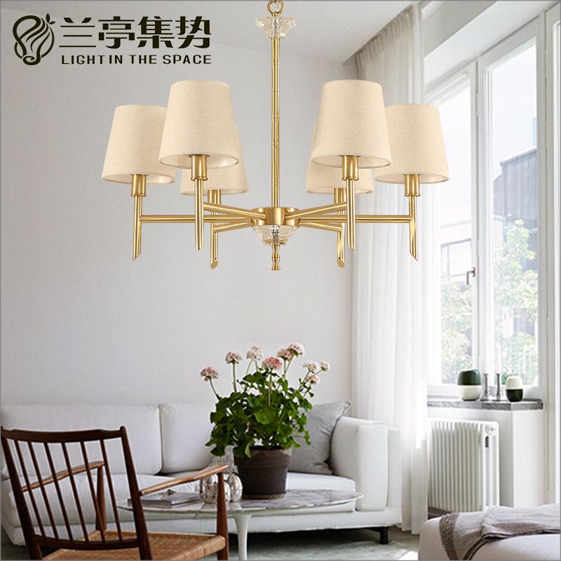 兰亭集势现代美式创意全铜竹子个性轻奢时尚简约设计师样板房吊灯