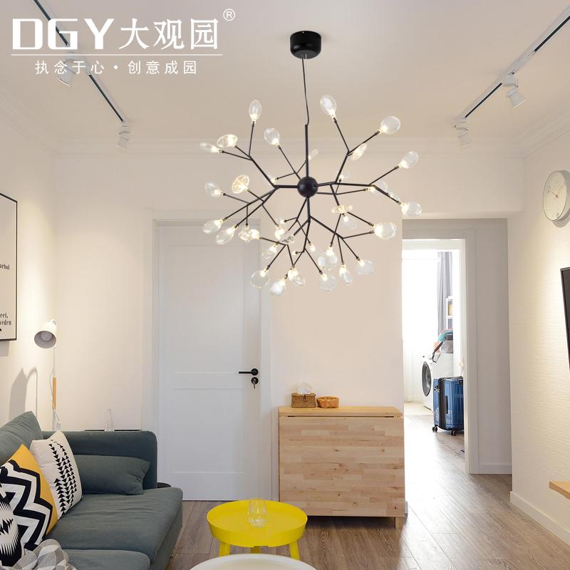 北欧简约客厅吊灯创意个性餐厅卧室萤火虫玻璃吊灯简约设计师灯具