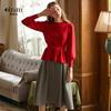 欧芮儿秋装女2018新款套装时尚两件套红色毛衣时髦套装洋气针织
