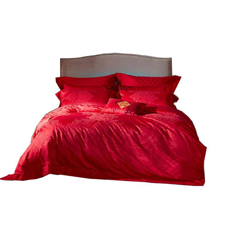 罗莱家纺床上用品喜庆红色1.5/1.8m单双人四件套缘定三生