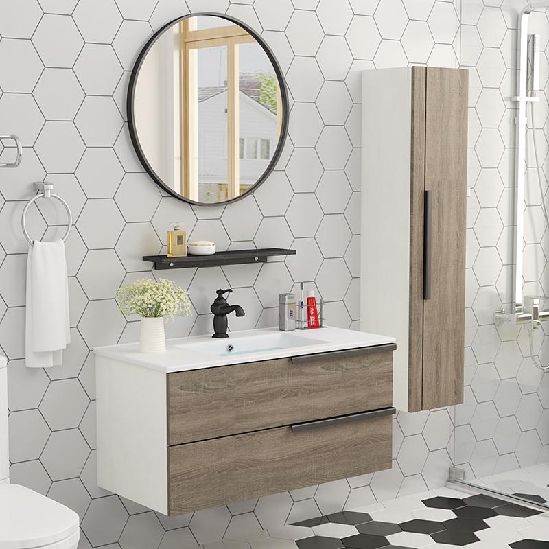 北欧浴室柜组合洗手台洗脸盆柜卫生间洗漱台现代简约挂墙式卫浴柜