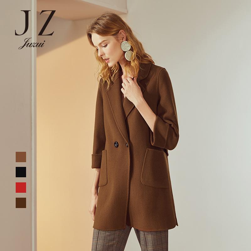 JUZUI-玖姿官方旗舰店2018冬装羊毛双面呢大衣女翻领双排扣外套
