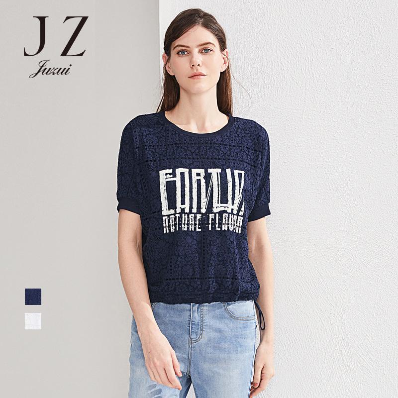 JUZUI-玖姿旗舰店女装2018夏季新款圆领短袖印花上衣宽松T恤女
