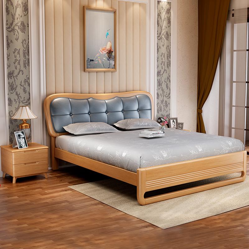 北欧实木床成婚床北欧风主卧带软靠侧卧室1.5m1.8米双人高档加厚