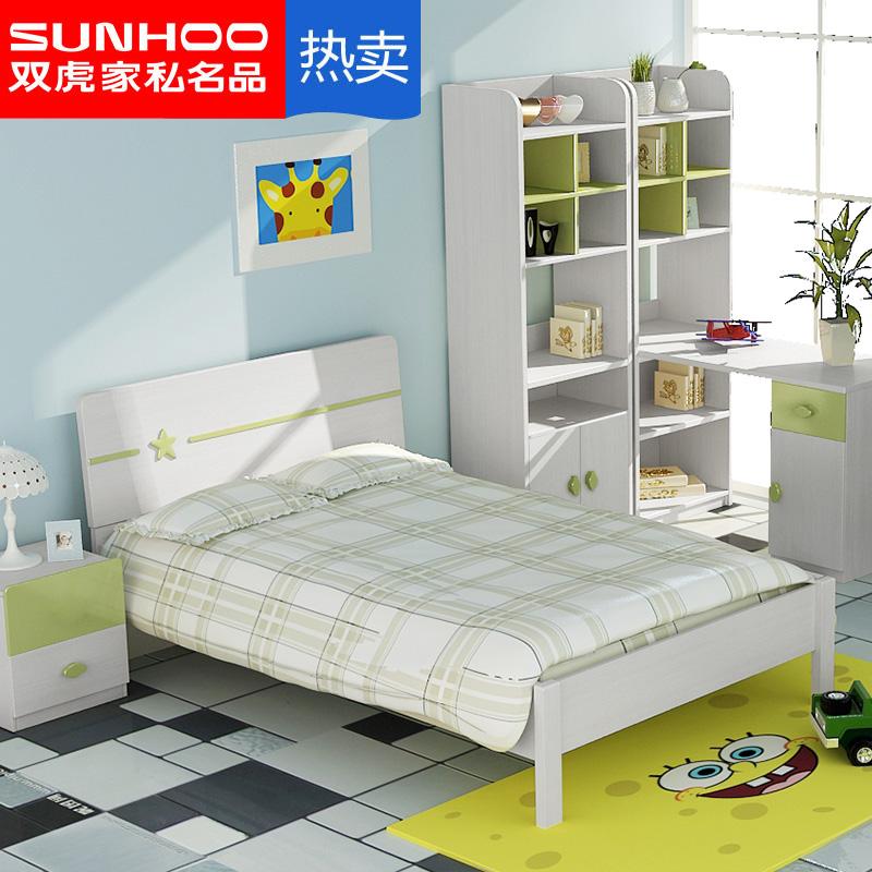 双虎家私青少年床简约现代男女孩1.2米1.5米单双人床卧室家具13R2