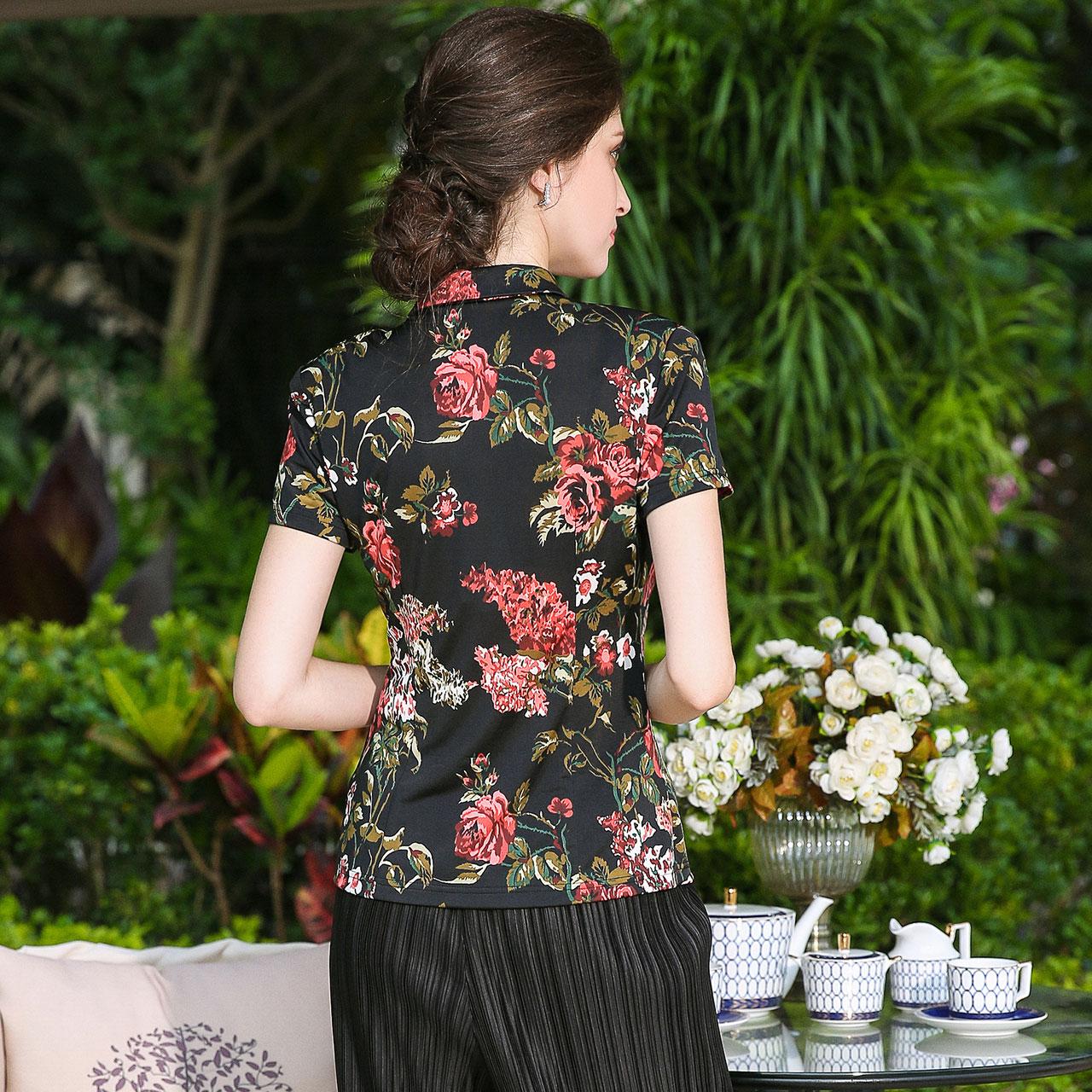 MORELINE沐兰夏季新款女装 修身显瘦优雅印花针织短袖衬衣9234402