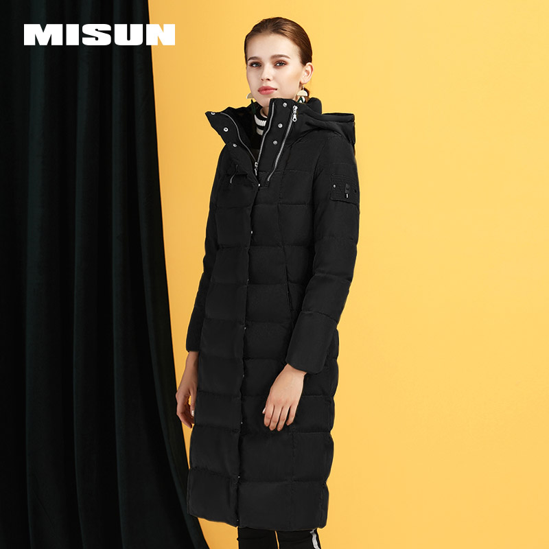 米尚2018新款秋冬修身羽绒服女士中长款加厚保暖长款外套超长过膝