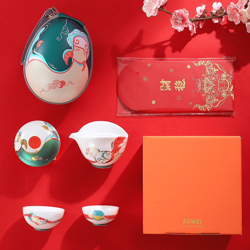 Fu cattle to send goods a ceramic pot two kung Fu tea set household crack cup teapot with gift boxes
