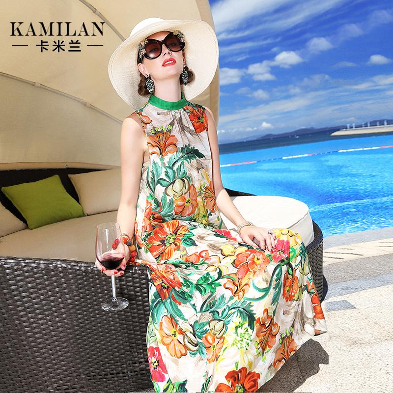 卡米兰2018夏季新款连衣裙印花真丝女宽松中长无袖背心沙滩裙裙子