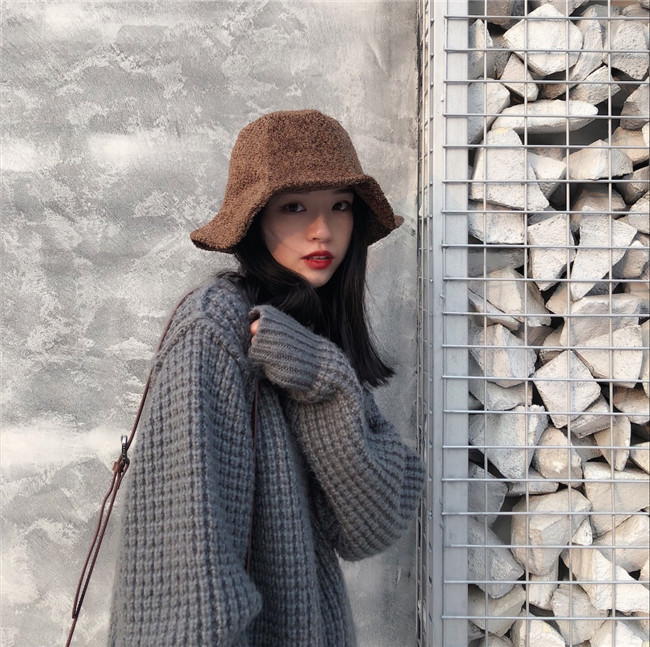 Autumn And Winter Fashion Japanese Fluffy Big Hat Fisherman Korean Female Solid Leaf Casual Color