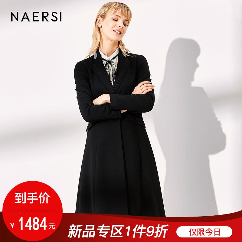 娜尔思女装时尚风衣2018秋季新款黑色修身过膝中长款端庄外套风衣