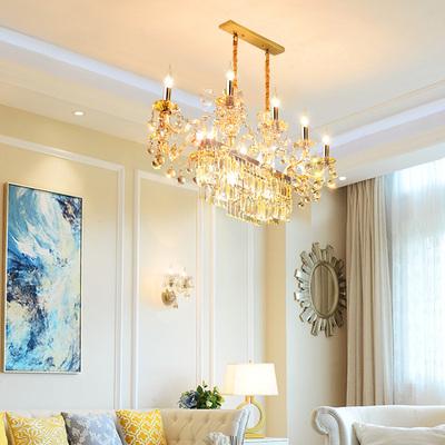 欧式餐厅吊灯进口水晶吧台个性定制法式奢华长方形饭厅客厅灯具饰