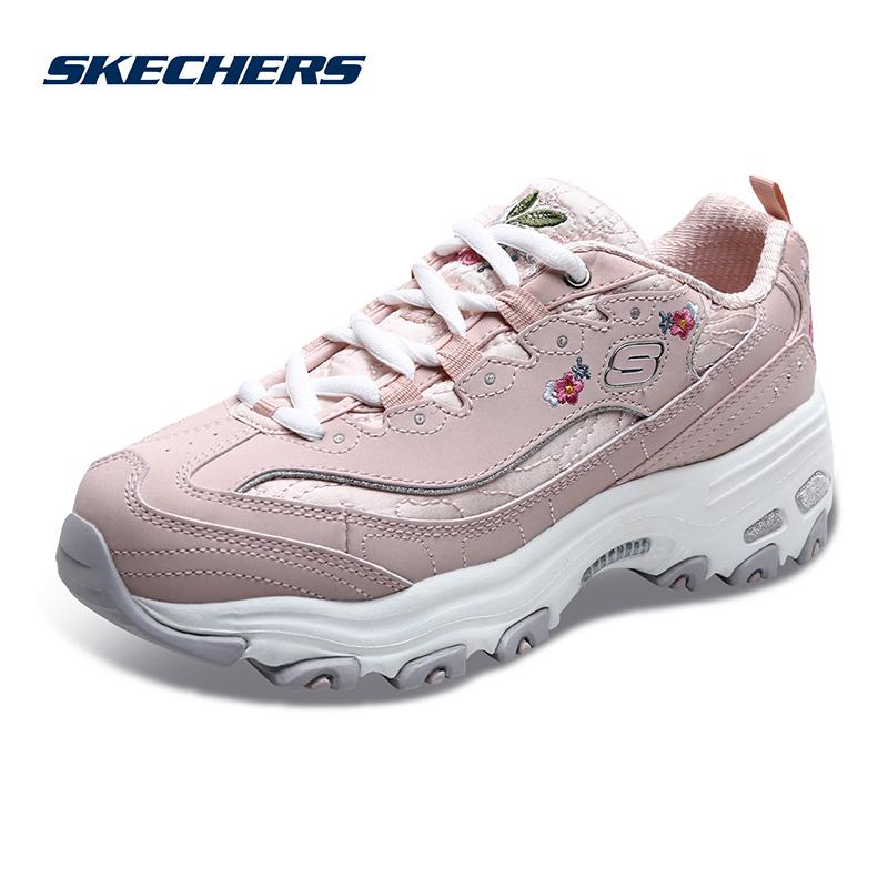 Skechers斯凯奇女鞋新款D'lites小白鞋熊猫鞋 刺绣绣花鞋11977