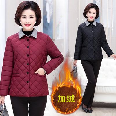 加绒短款小棉衣时尚百搭棉服中老年女装棉袄舒适好质量单妈妈装