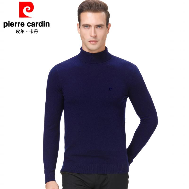 皮尔卡丹秋季男装长袖可翻高领中年套头潮纯羊毛针织衫正品毛衣男