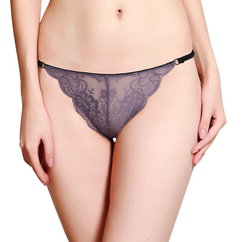 夕纪蕾丝内裤女士无痕细带三角裤超薄透明网纱火辣大码低腰内裤女