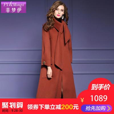 菲梦伊欧美时尚秋冬新款羊毛中长款双面羊绒大衣女毛呢外套12971