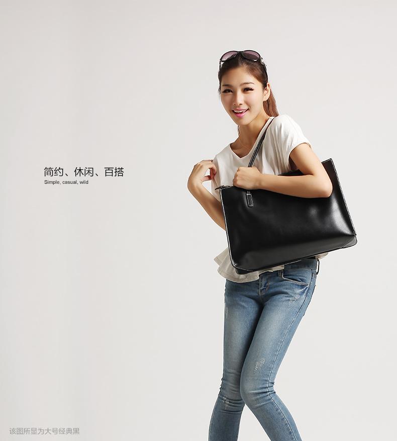 暮思小姐欧美大容量潮韩版牛皮女士单肩包包