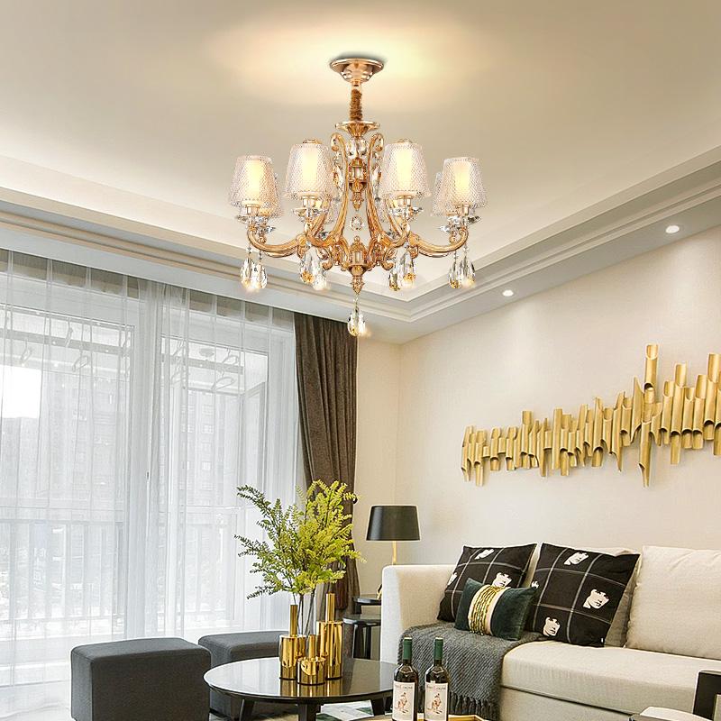 华艺灯饰欧式锌合金水晶吊灯现代简约大气客厅灯创意卧室灯餐厅灯
