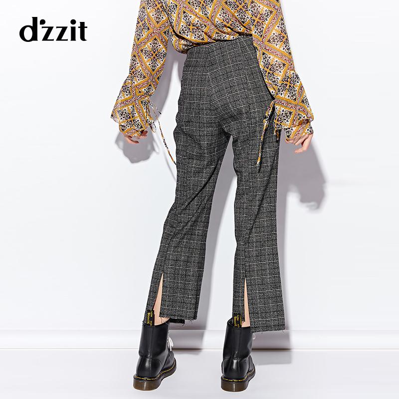 d'zzit地素 2018冬装新款复古格子错位后开叉休闲长裤女3F4Q4033A