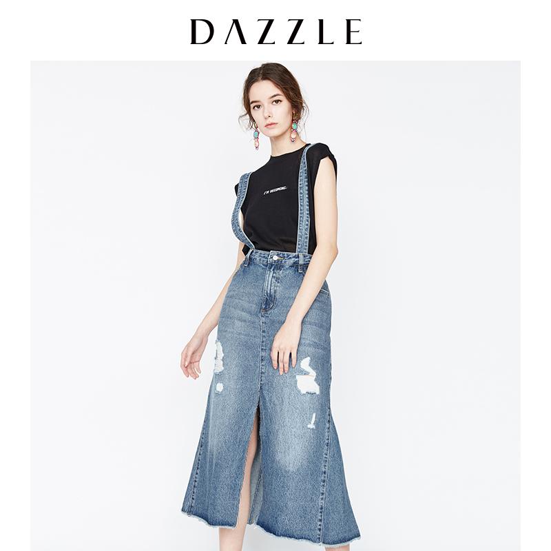 DAZZLE地素 18夏专柜新款 时尚破洞开叉牛仔背带长裙 2F2S5141S