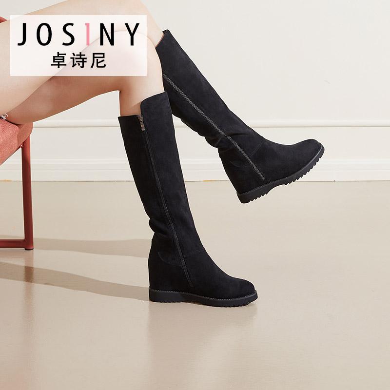 卓诗尼2019冬季新款小辣椒长筒单靴内增高骑士靴侧拉链长靴子