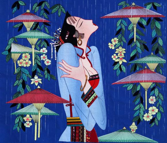 【布珠艺阁】手工布艺花卉装饰画客厅餐厅丝绫堆绣牡丹孔雀布贴画