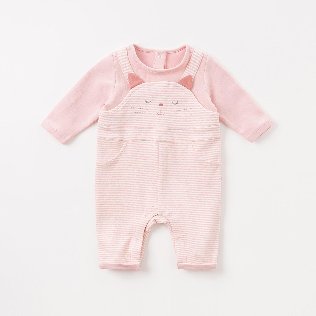 davebella戴维贝拉2018新生儿秋季新款爬服婴幼儿连体衣DBM7758