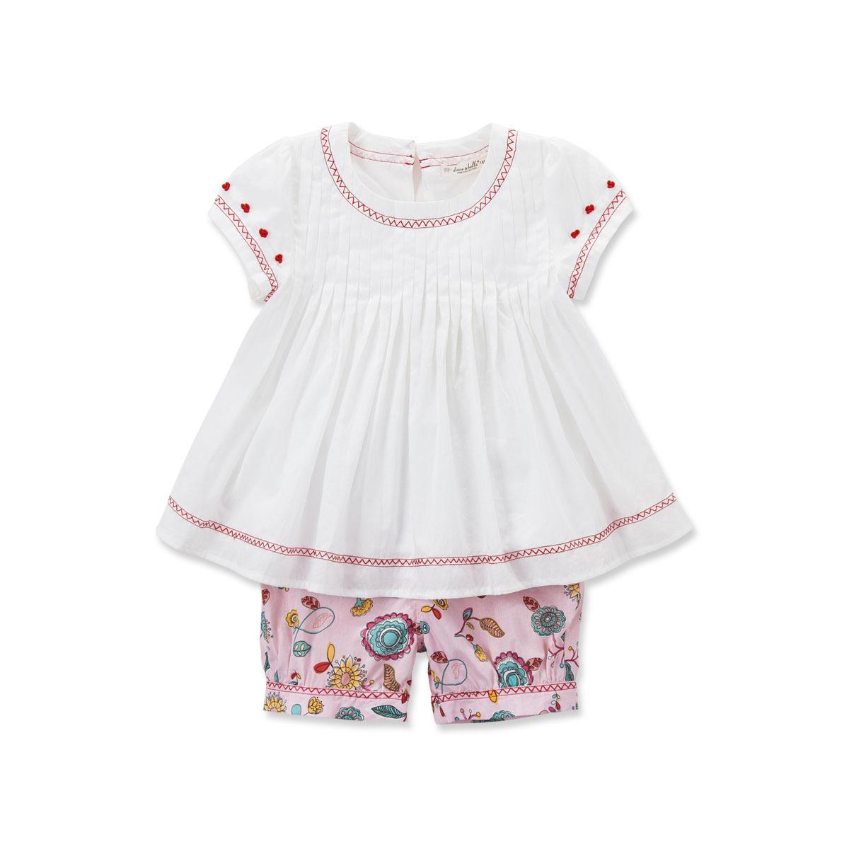 davebella戴维贝拉童装女童夏装短袖套装 女宝宝套装夏