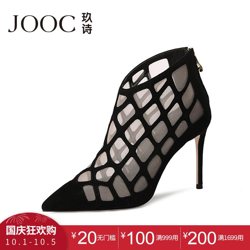 JOOC-玖诗夏新款欧美性感尖头镂空网纱凉鞋透视细高跟女单鞋1296