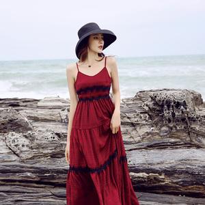实拍+3标巴厘岛三亚沙滩裙女夏仙显瘦海边度假泰国红色连衣裙子...