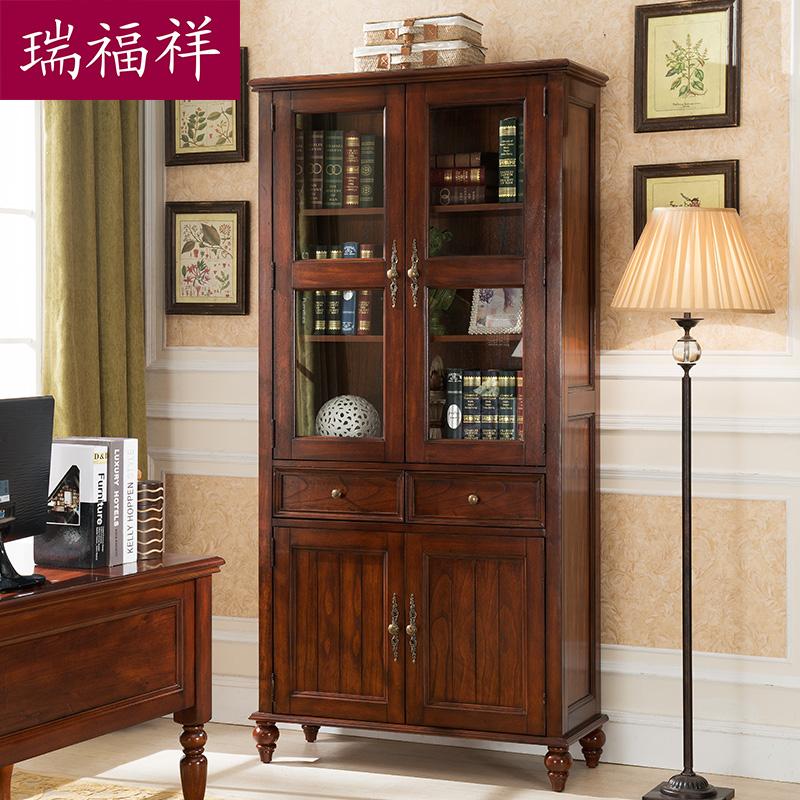 瑞福祥美式乡村实木书柜带玻璃门 书房家具小户型欧式书橱AI310
