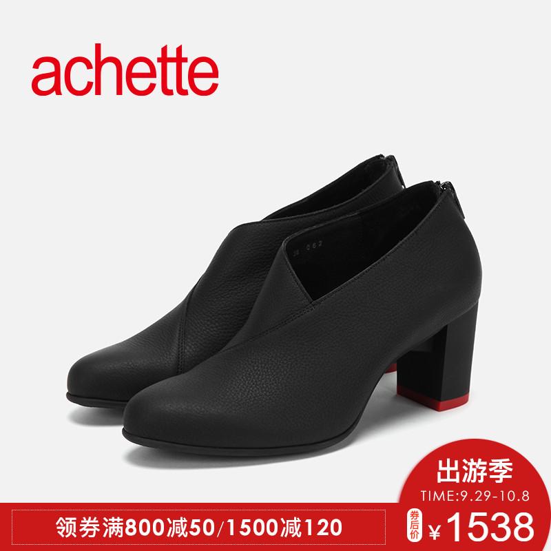 achette雅氏5LF2 2018秋冬款靴子女 正装圆头靴子 高跟鞋