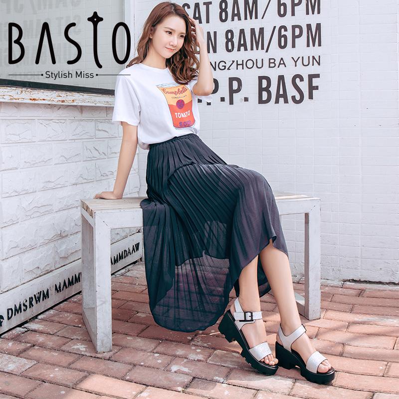 BASTO-百思图2018夏季专柜同款休闲一字带凉鞋DB501BL8