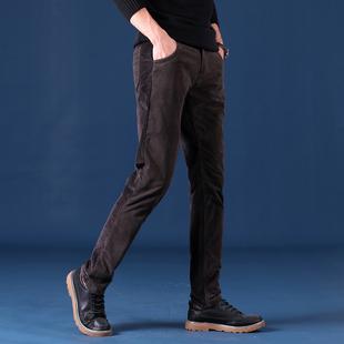 休闲裤男装秋冬季牛仔裤男士直筒修身长裤子男商务休闲灯芯绒男裤