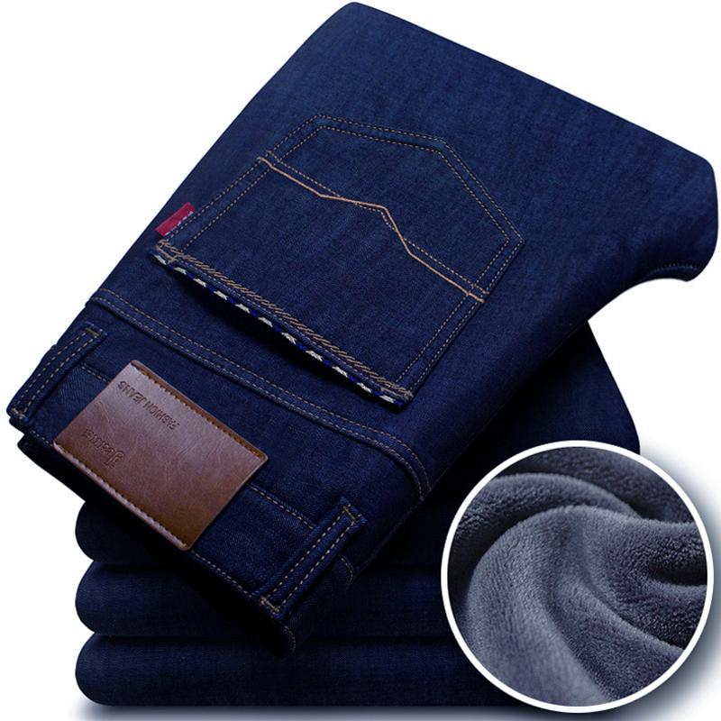 2017冬季加绒牛仔裤男士直筒大码长裤中年宽松商务加厚保暖男裤子