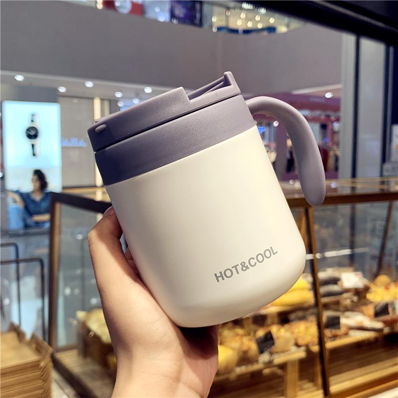 韩版创意学生不锈钢保温杯男女办公室带把手咖啡杯简约个性水杯子