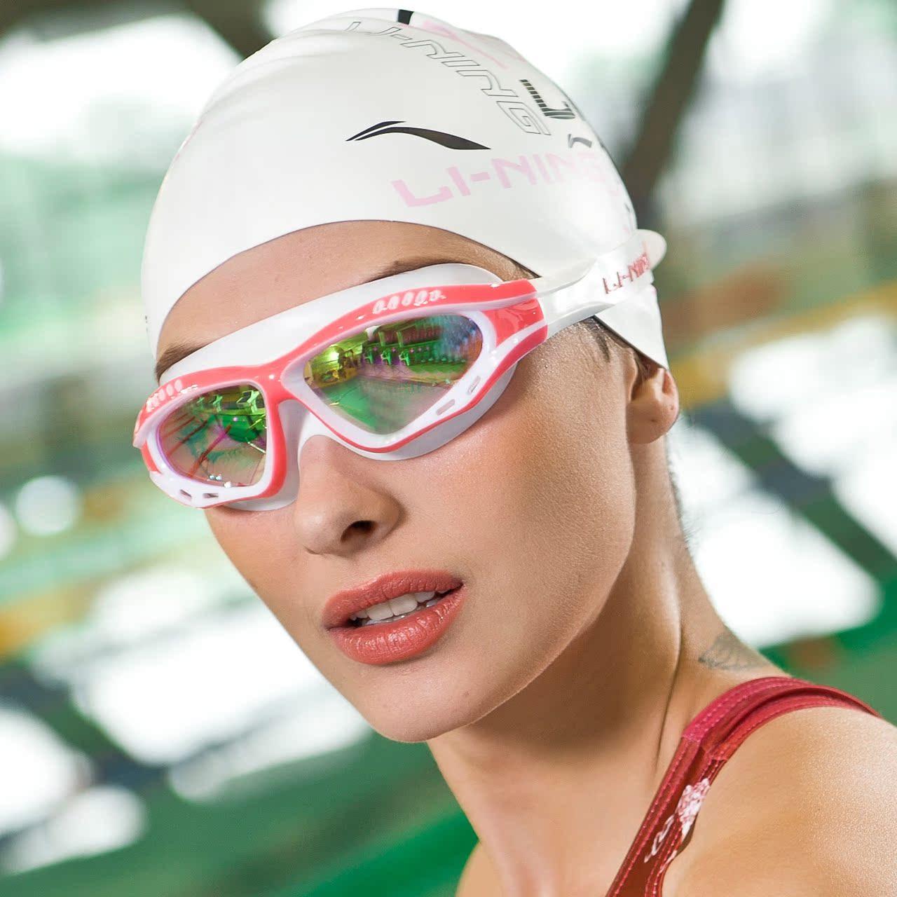 电镀膜高清 防水防雾近视游泳眼镜