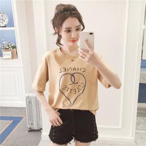 实拍棉短袖t恤女装2018夏装新款韩版宽松百搭学生短款体恤