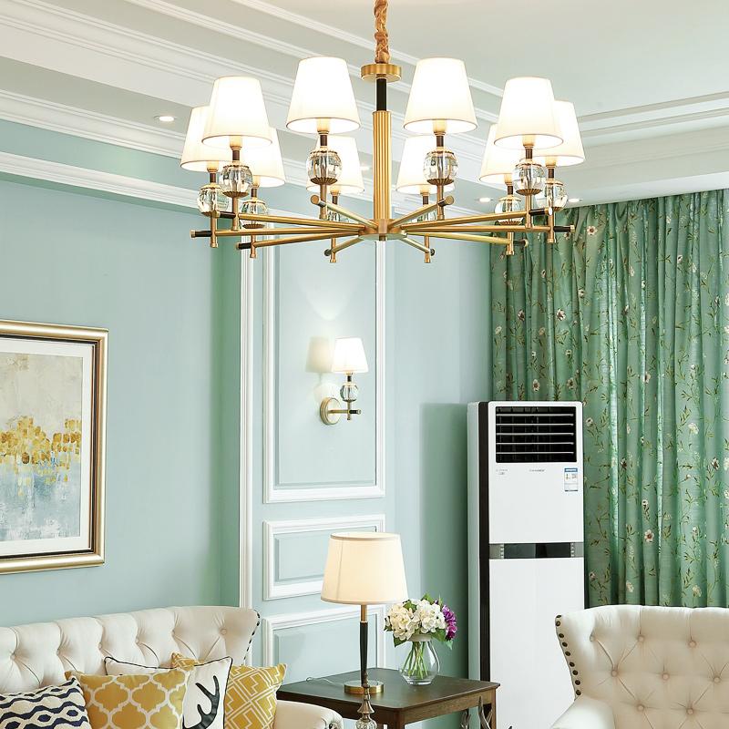 美式全铜吊灯 现代大气客厅灯简美卧室书房灯家用田园餐厅全铜灯