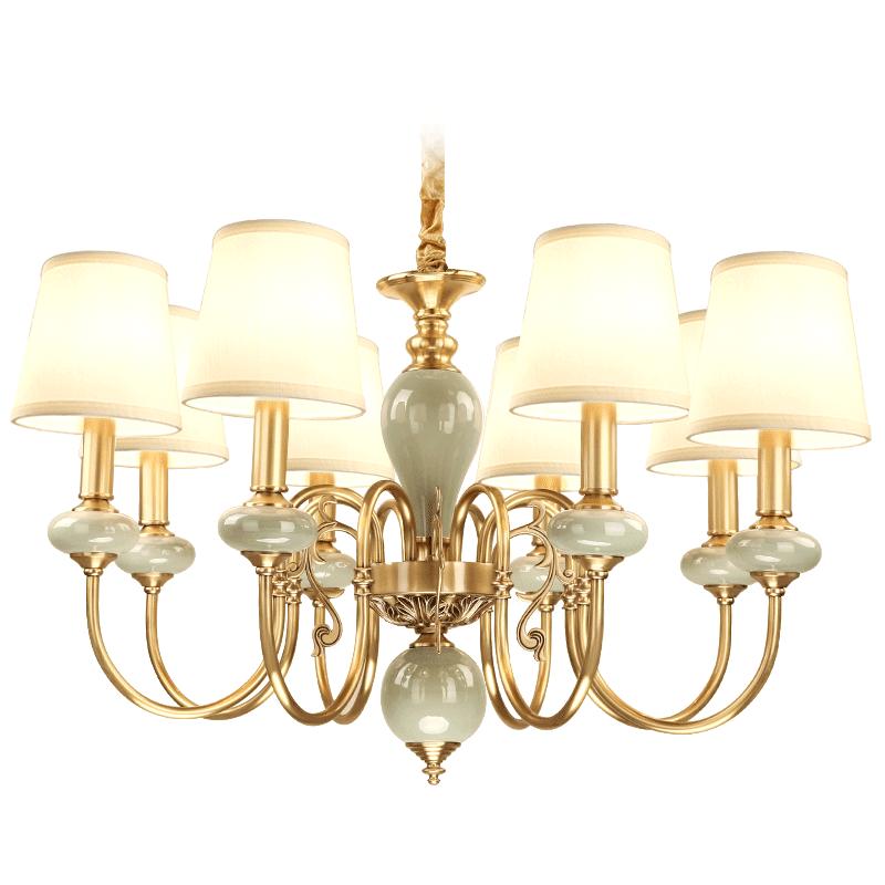 美式全铜吊灯 客厅灯现代简约卧室陶瓷吊灯复式别墅全铜灯具