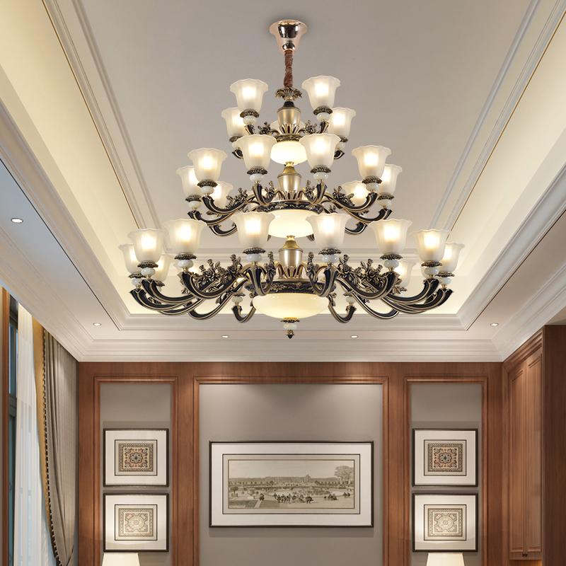欧式客厅长吊灯美式大厅大灯楼中楼大吊灯复式楼别墅楼梯水晶灯具