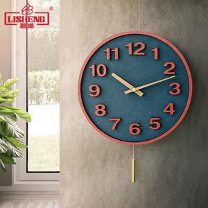 丽盛挂钟现代简约客厅静音时钟北欧摇摆钟表家用时尚个性石英挂表