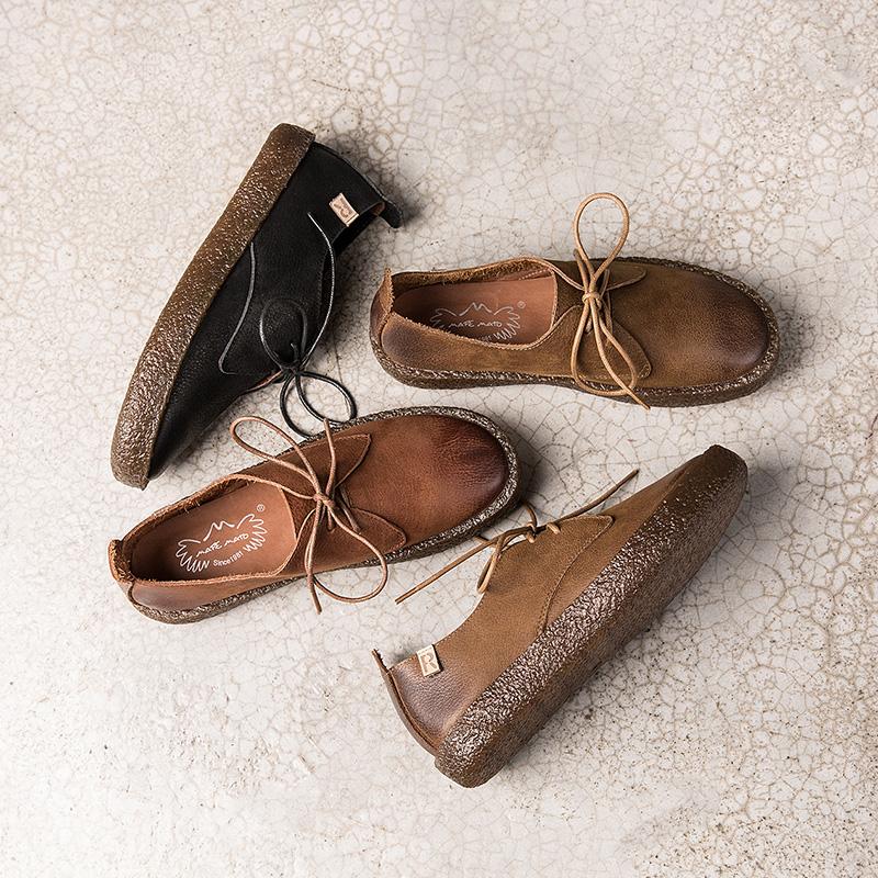 女鞋春季2018新款单鞋女平底复古学院风系带牛津鞋英伦手工小皮鞋