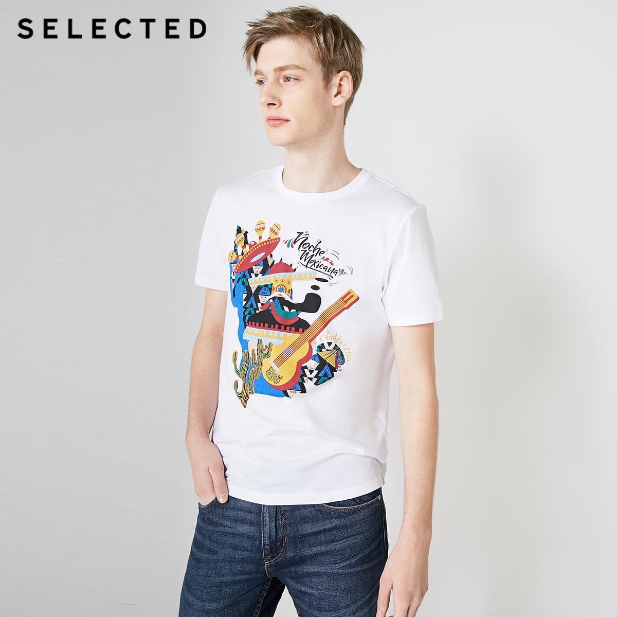 SELECTED思莱德夏季新款纯棉潮流白色休闲男士短袖T恤S|419201574