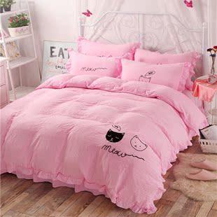 韩式水洗棉四件套纯色1.5被套绣花荷叶边1.8m床笠2米床单双人床品图片